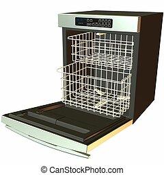 3D Dishwasher -Open - 3D Render