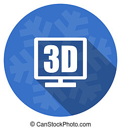 3d display blue flat design christmas winter web icon with snowflake