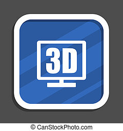 3d display blue flat design square web icon