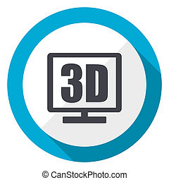 3d display blue flat design web icon