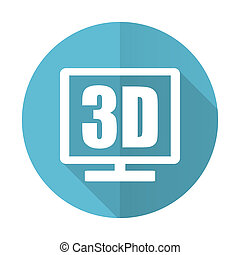 3d display blue flat icon