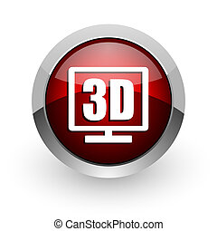 3d display red circle web glossy icon