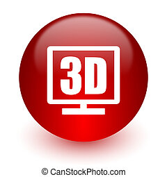 3d display red computer icon on white background