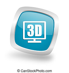 3d display square blue glossy chrome silver metallic web icon