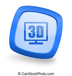 3d display square glossy blue web design icon
