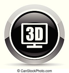 3d display vector steel icon. Chrome border round web button. Silver metallic pushbutton.