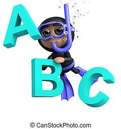 3d Diver teaches the alphabet