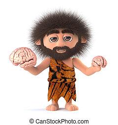 3d, divertido, cavernícola, compares, dos, humano, cerebros