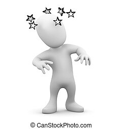 3d Dizzy person - 3d render of little person with stars...