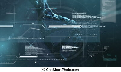 Animation of 3d DNA strand moving in hypnotic motion with medical data processing on black background. Global science medicine concept digitally generated image.