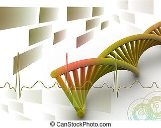 3d DNA in digital background