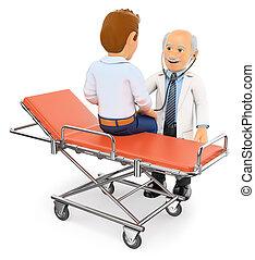 3d, docteur, ausculter, a, patient, sur, a, gurney