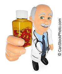 3d, doctor, actuación, un, píldoras, botella, sin, etiqueta