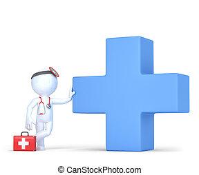 3d, doctor, con, azul, médico, cruz, símbolo., isolated., contiene, ruta de recorte