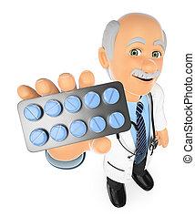 3d, doctor, con, un, píldoras, tablet., medicinas