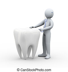 3d doctor examines tooth with stethoscope - 3d illustration...