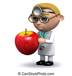 3d Doctor has an apple