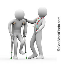 3d doctor helping a person on crutches - 3d illustration of...