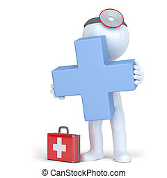 3d doctor holding blue cross. Isolated. Contains clipping path