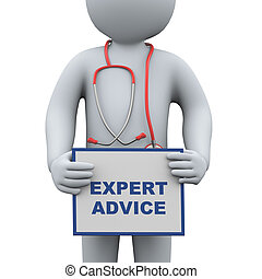 3d doctor holding expert advice
