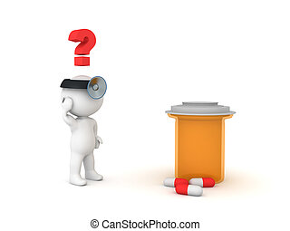 3D Doctor looking confused at big orange drug bottle