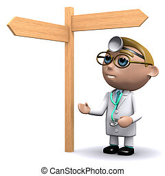 3d Doctor looks at the signpost