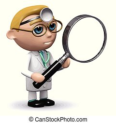 3d Doctor with a magnifying glass