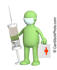 3d doctor with a syringe