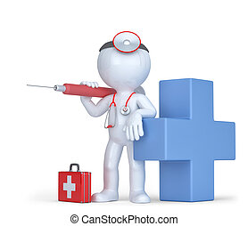 3d Doctor with a syringe and stethoscope. Isolated. Contains clipping path