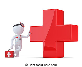 3d doctor with cross symbol. Medical service concept. Isolated. Contains clipping path