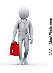 3d doctor with first aid kit and stethoscope