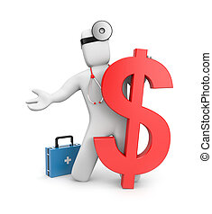 3d doctor with firstaid and dollar - Medical concept....