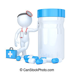 3d doctor with pill box. Isolated. Contains clipping path