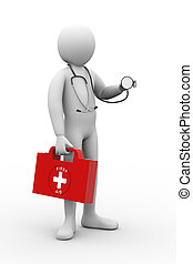 3d doctor with stethoscope and first aid box