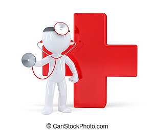 3d doctor with stethoscope. Isolated. Contains clipping path
