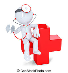 3d doctor with stethoscope sitting on red cross. Isolated. Contains clipping path.