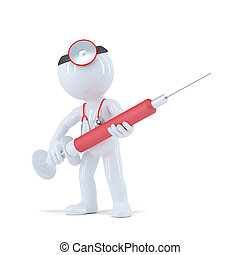 3D Doctor with syringe. Isolated on white background