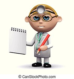 3d Doctor writes in his notepad