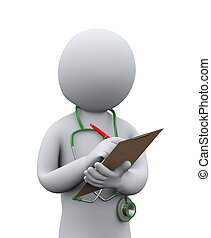 3d illustration of doctor with stethoscope writing patient medical record. 3d rendering of man - people character.