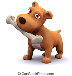 3d Dog and bone - 3d render of a dog with a bone
