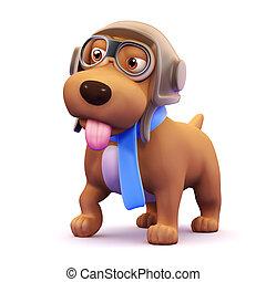 3d Dog pilot - 3d render of a dog dressed as an aircraft ...