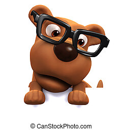 3d Dog wearing glasses peeps over the top - 3d render of a ...