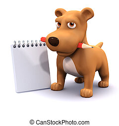 3d Dog with notepad`