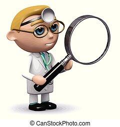 3d, doktor, mit, a, vergrößerungsglas