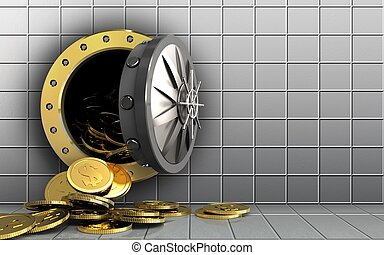 3d dollar coins over white wall