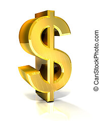 3d, dollar, gouden, symbool