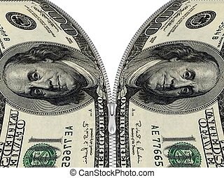 dollar notes with zipper