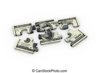 3d dollar puzzle pieces