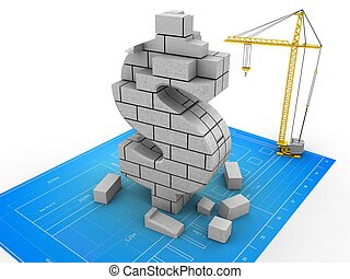 3d dollar sign - 3d illustration of crane over bluprint...