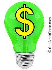 3D dollar sign in green lamp